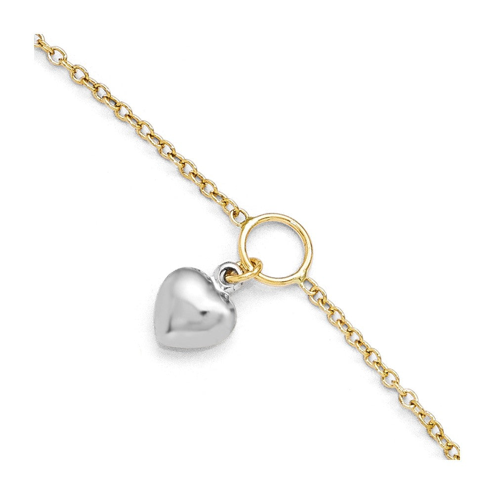 14k Two Tone Gold Dangling Puffed Heart Anklet, 10-11 Inch, Item A8664 by The Black Bow Jewelry Co.