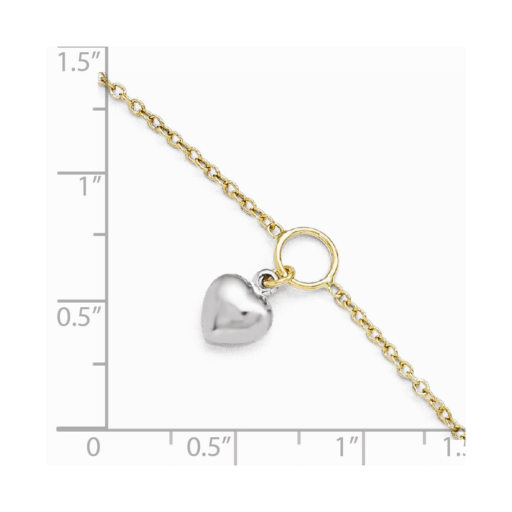 Alternate view of the 14k Two Tone Gold Dangling Puffed Heart Anklet, 10-11 Inch by The Black Bow Jewelry Co.