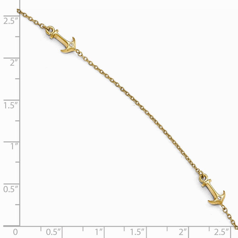 Alternate view of the 14k Yellow Gold and Cubic Zirconia Anchor Station Anklet, 9-10 Inch by The Black Bow Jewelry Co.