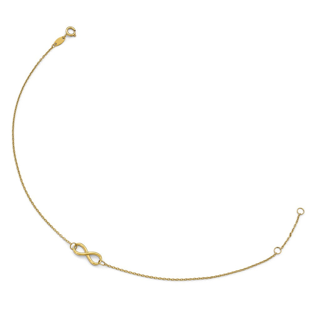 Alternate view of the 14k Yellow Gold Polished Infinity Station Anklet, 9-10 Inch by The Black Bow Jewelry Co.