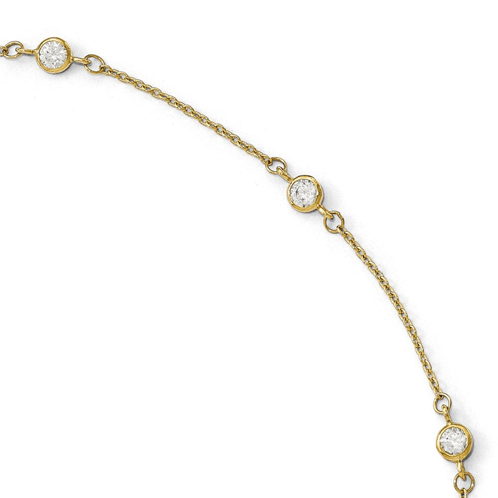 14k Yellow Gold and Cubic Zirconia Station Anklet, 9-10 Inch, Item A8677 by The Black Bow Jewelry Co.