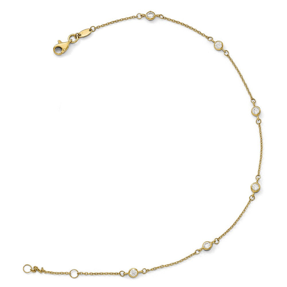 Alternate view of the 14k Yellow Gold and Cubic Zirconia Station Anklet, 9-10 Inch by The Black Bow Jewelry Co.