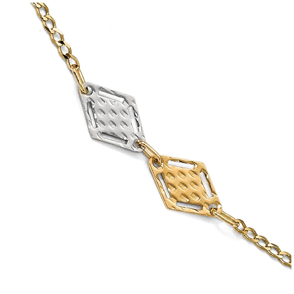 14k Two Tone Gold Polished Textured Rhombus Link Anklet, 10 Inch, Item A8679 by The Black Bow Jewelry Co.