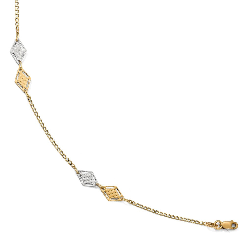Alternate view of the 14k Two Tone Gold Polished Textured Rhombus Link Anklet, 10 Inch by The Black Bow Jewelry Co.