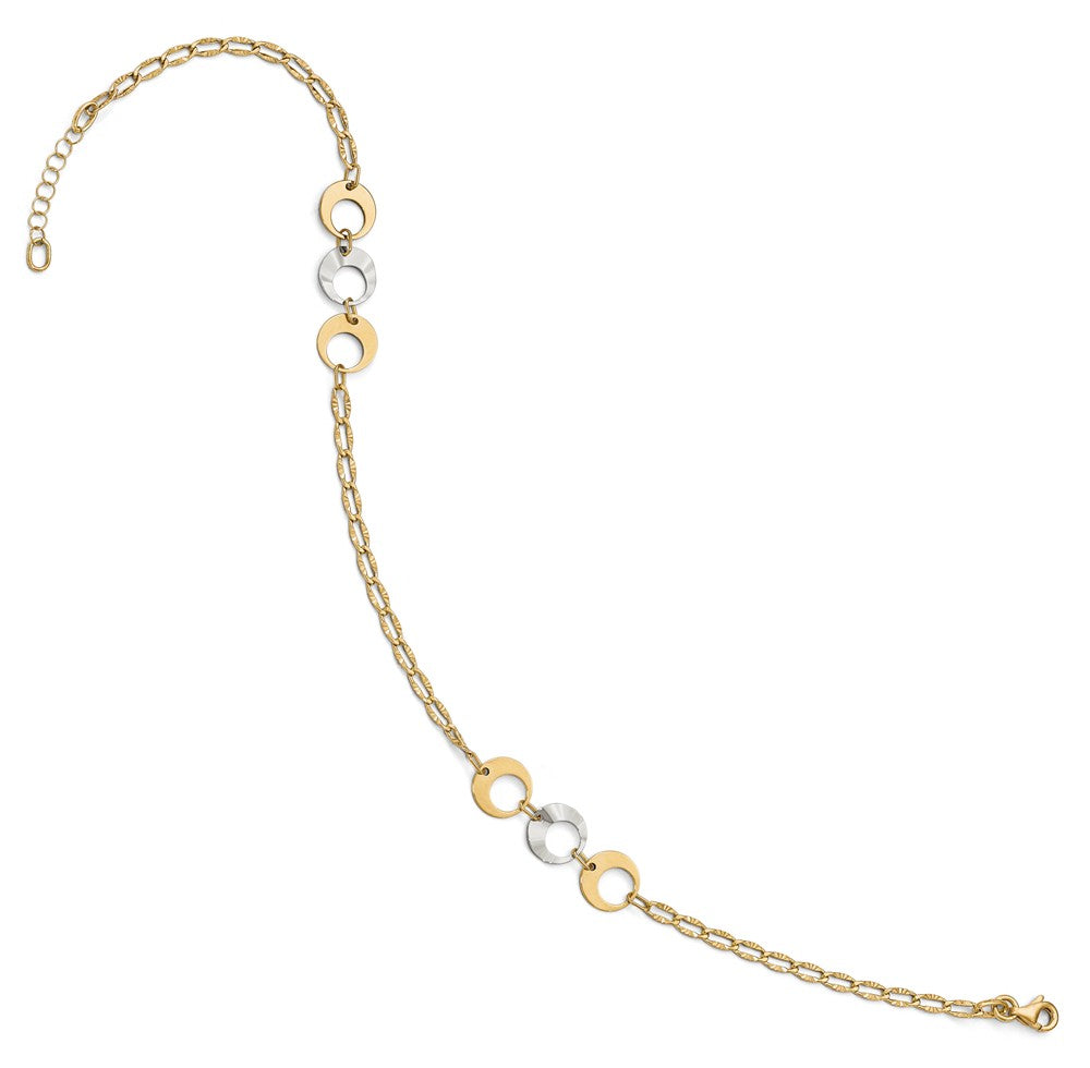 Alternate view of the 14k Two Tone Gold Triple Circle Link Station Anklet, 10-11 Inch by The Black Bow Jewelry Co.