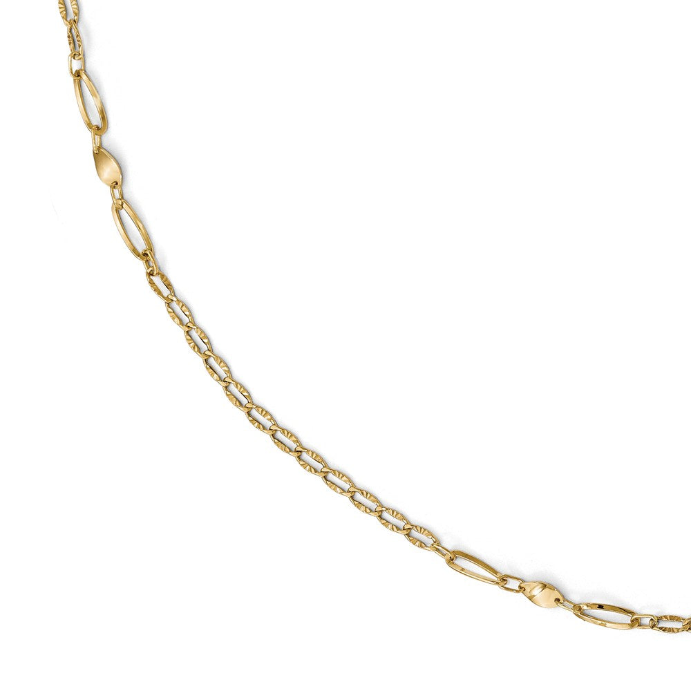 14k Yellow Gold Polished And Diamond-Cut Link Station Anklet, 10-11 In, Item A8687 by The Black Bow Jewelry Co.