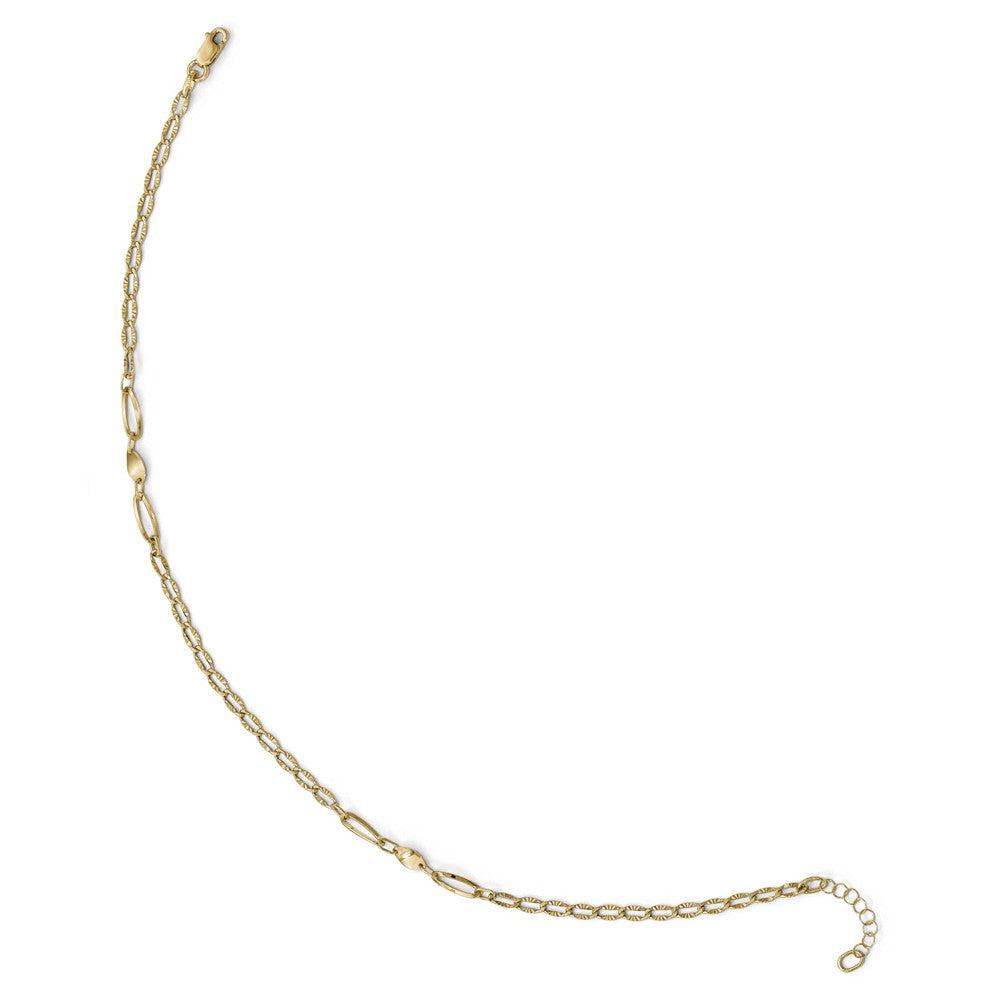Alternate view of the 14k Yellow Gold Polished And Diamond-Cut Link Station Anklet, 10-11 In by The Black Bow Jewelry Co.