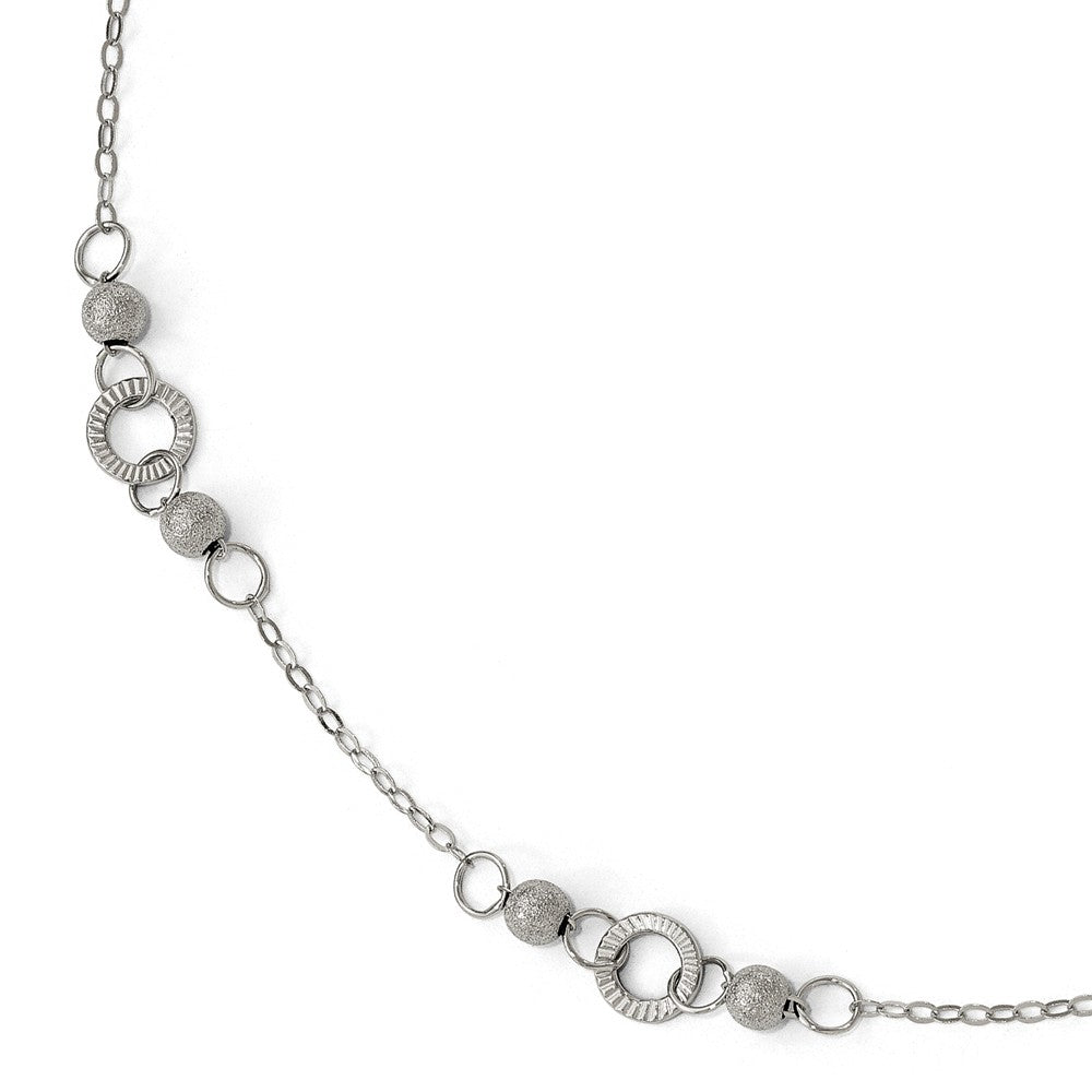 14k White Gold Diamond-Cut and Laser Textured Link Anklet, 9.5 Inch, Item A8689 by The Black Bow Jewelry Co.