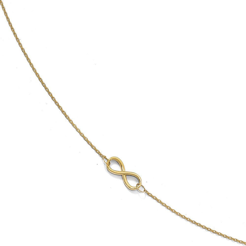 10k Yellow Gold Polished Infinity Station Anklet, 9-10 Inch, Item A8691 by The Black Bow Jewelry Co.