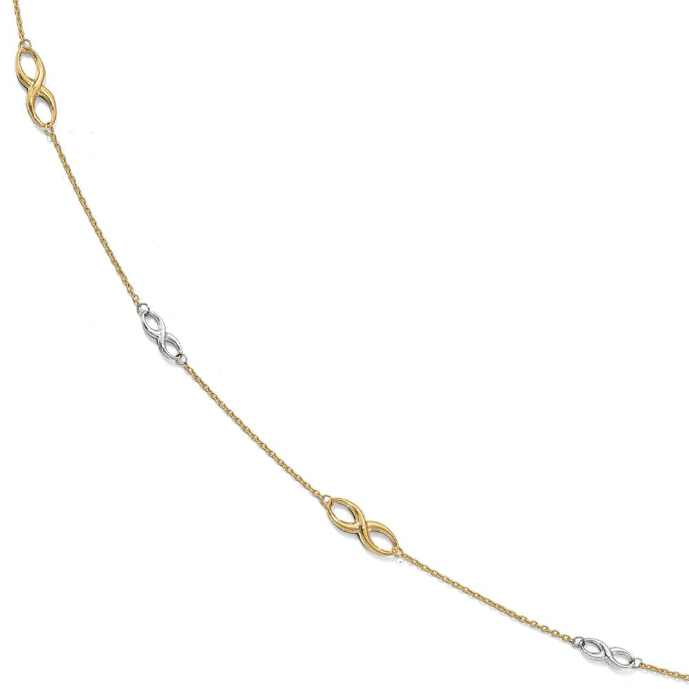 10k Two Tone Gold Polished Infinity Station Anklet, 9-10 Inch, Item A8693 by The Black Bow Jewelry Co.