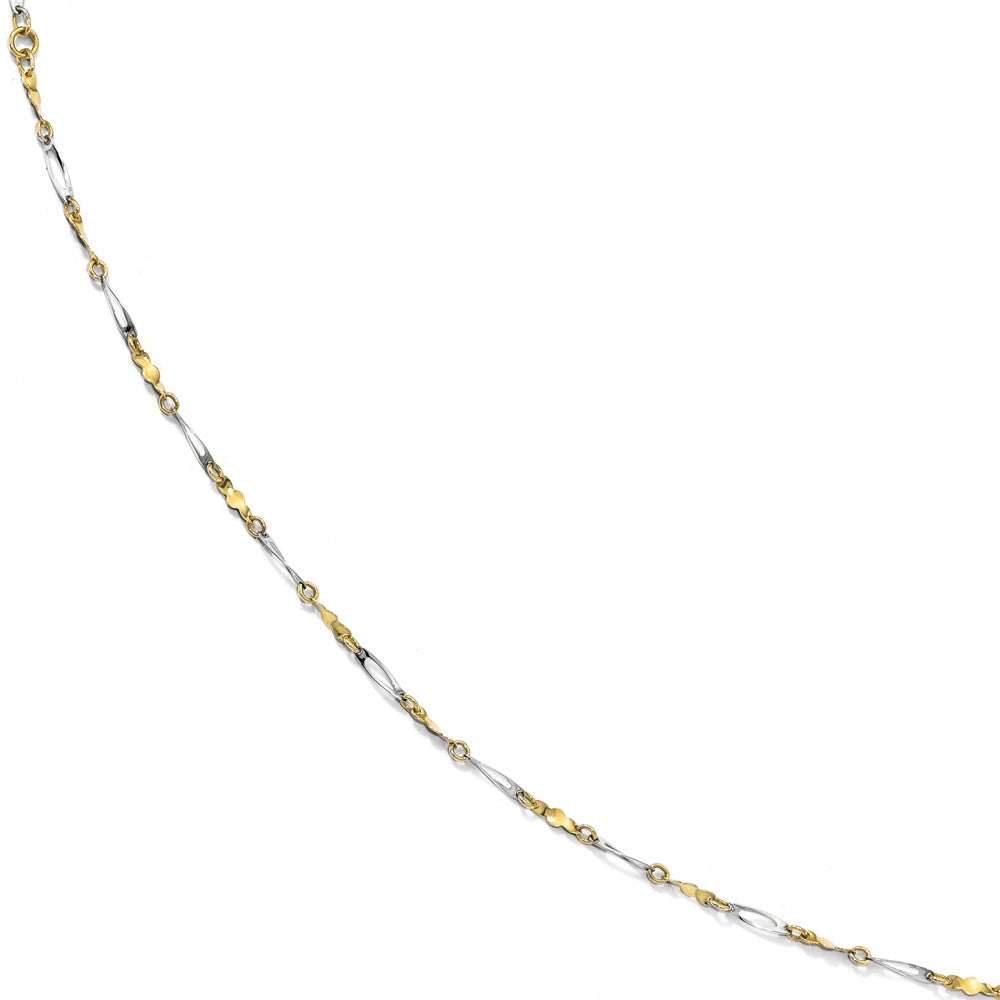 10k Two Tone Gold Polished 2.5mm Fancy Link Anklet, 9-10 Inch, Item A8694 by The Black Bow Jewelry Co.