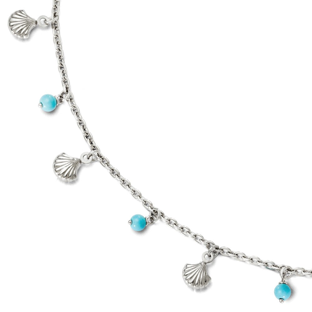 Sterling Silver Turquoise Bead And Sea Shell Dangle Anklet, 9-10 Inch, Item A8698 by The Black Bow Jewelry Co.