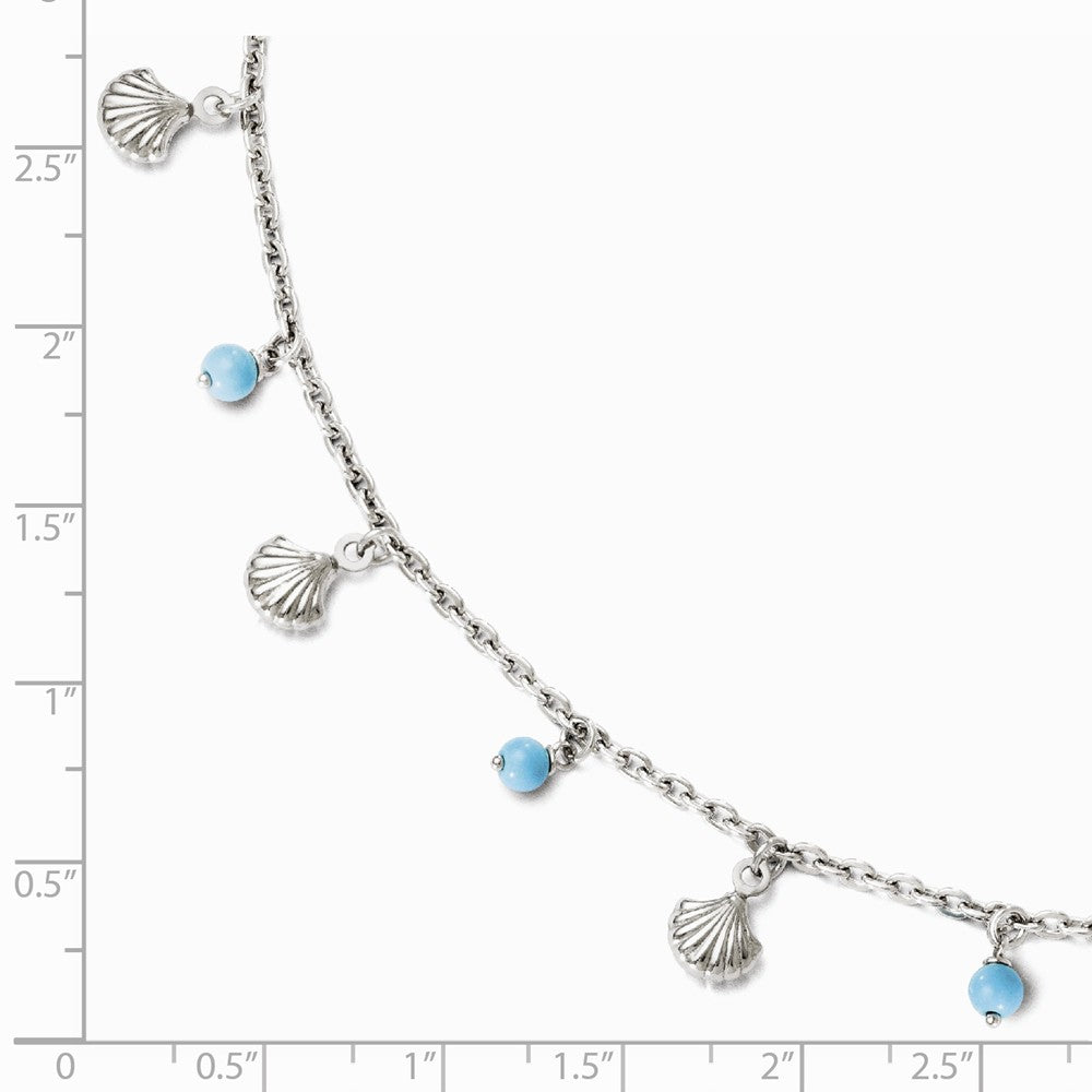 Alternate view of the Sterling Silver Turquoise Bead And Sea Shell Dangle Anklet, 9-10 Inch by The Black Bow Jewelry Co.