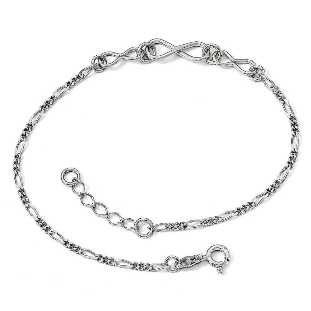 Alternate view of the Sterling Silver 6mm Infinity and 2mm Figaro Link Anklet, 9-10 Inch by The Black Bow Jewelry Co.