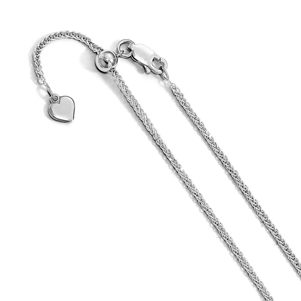 Sterling Silver Adjustable 0.95mm D/C Wheat Chain Anklet, 11 Inch, Item A8701 by The Black Bow Jewelry Co.