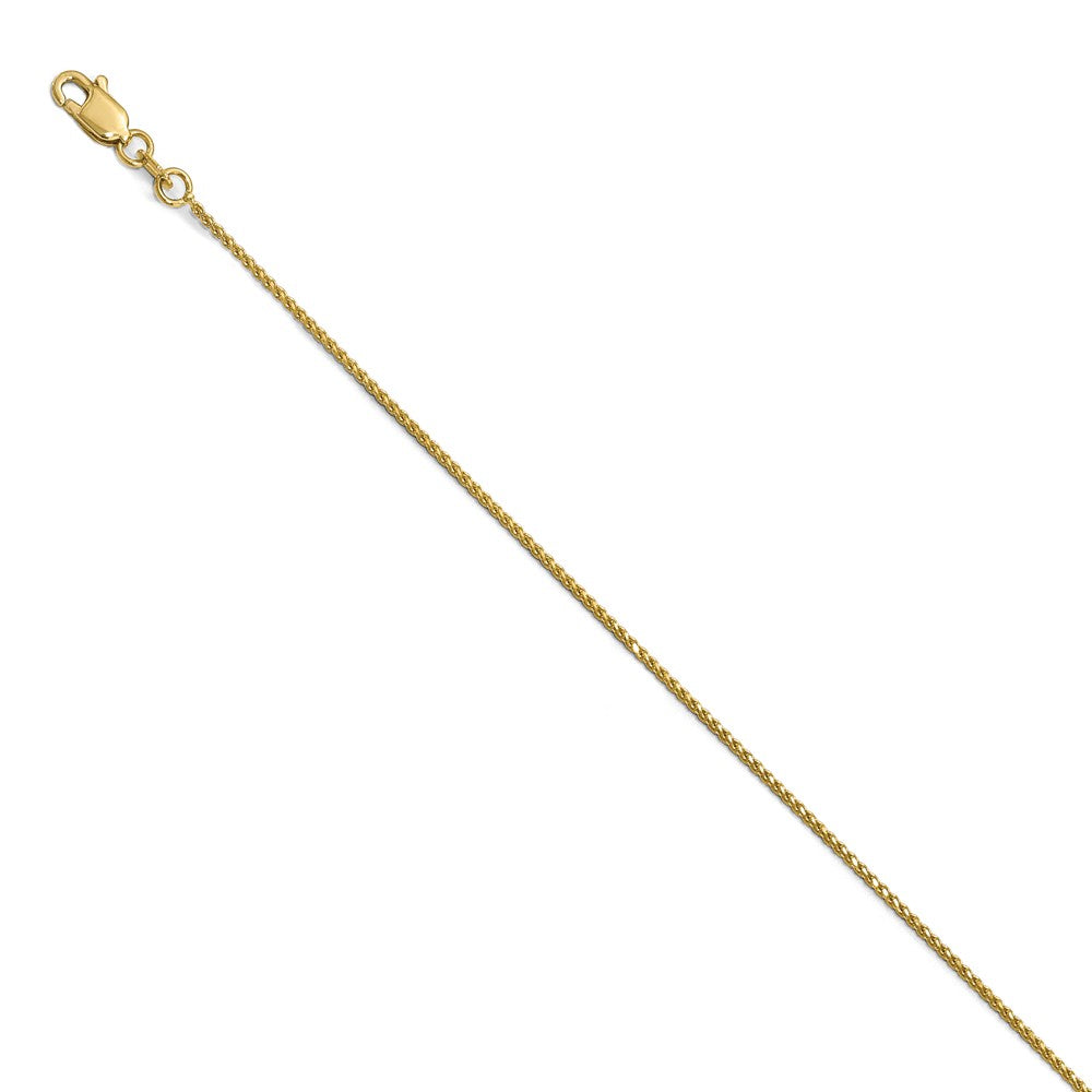14k Yellow Gold 1mm Solid Diamond-Cut Spiga Chain Anklet - The Black Bow Jewelry Co.