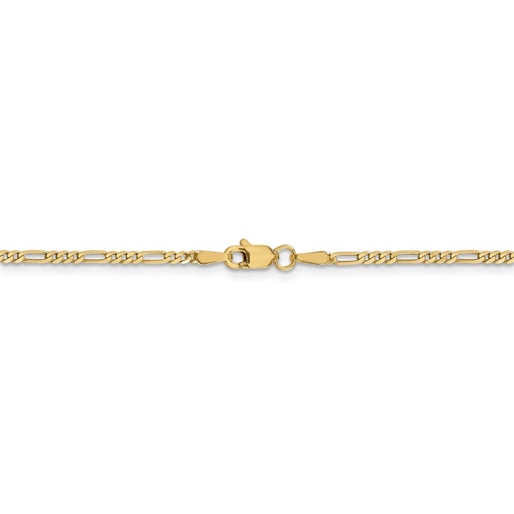 Alternate view of the 14k Yellow Gold 1.8mm Flat Figaro Chain Anklet by The Black Bow Jewelry Co.