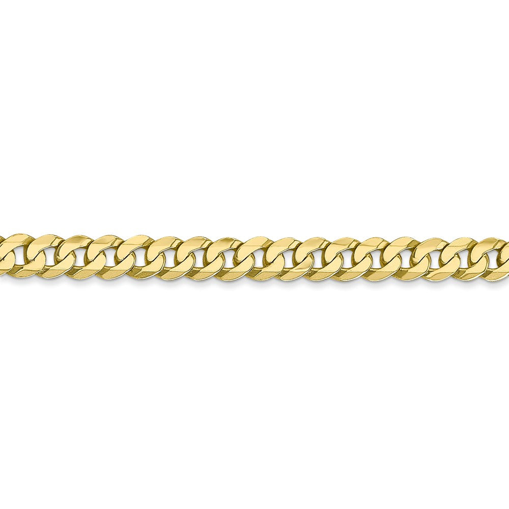 Alternate view of the 10k Yellow Gold 4.6mm Flat Beveled Curb Chain Anklet - 9 Inch by The Black Bow Jewelry Co.