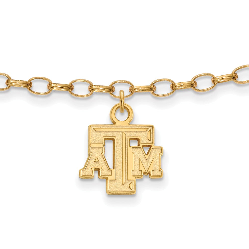 NCAA 14k Gold Plated Sterling Silver Texas A& M Univer. Anklet, 9 Inch, Item A8718 by The Black Bow Jewelry Co.