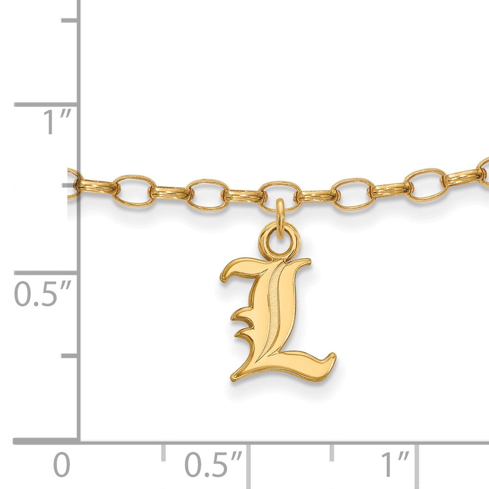 Alternate view of the NCAA 14k Gold Plated Silver Univer. of Louisville Dangle Anklet, 9 In by The Black Bow Jewelry Co.