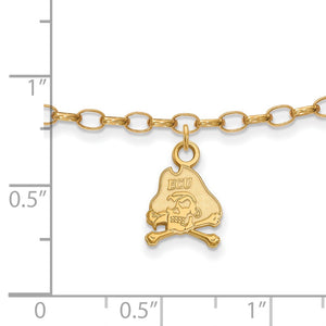 Alternate view of the NCAA 14k Gold Plated Silver East Carolina Univ. Anklet, 9 Inch by The Black Bow Jewelry Co.