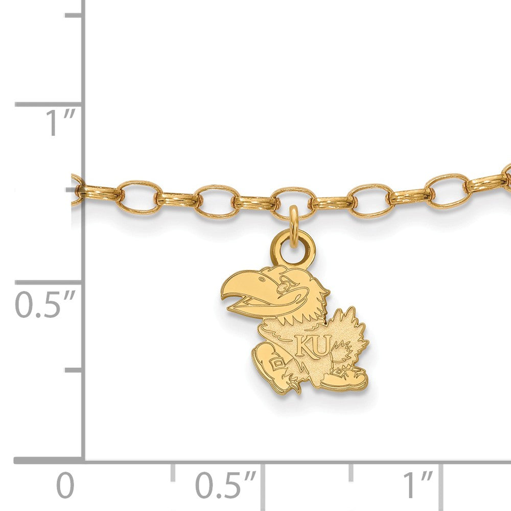 Alternate view of the 14k Gold Plated Sterling Silver Univ. of Kansas Anklet, 9 Inch by The Black Bow Jewelry Co.