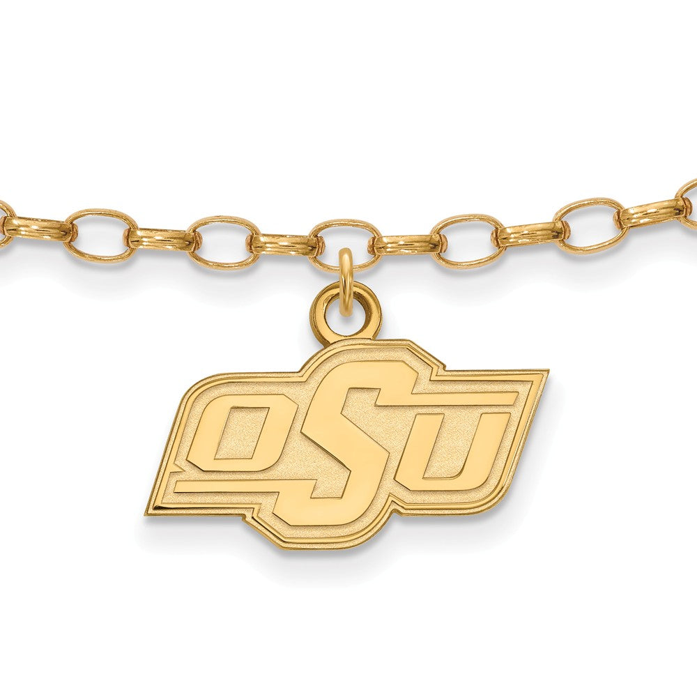 NCAA 14k Gold Plated Silver Oklahoma State University Anklet, 9 Inch, Item A8727 by The Black Bow Jewelry Co.