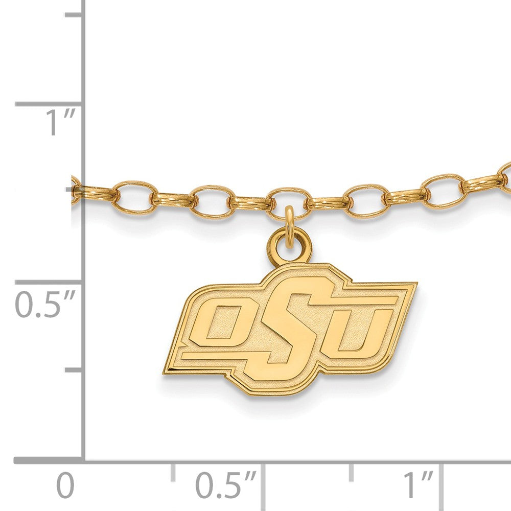 Alternate view of the NCAA 14k Gold Plated Silver Oklahoma State University Anklet, 9 Inch by The Black Bow Jewelry Co.