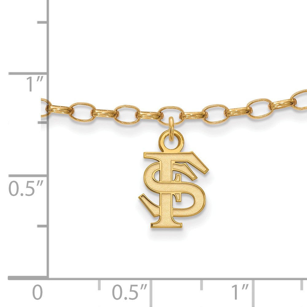 Alternate view of the 14k Gold Plated Sterling Silver Florida State U. Anklet, 9 Inch by The Black Bow Jewelry Co.
