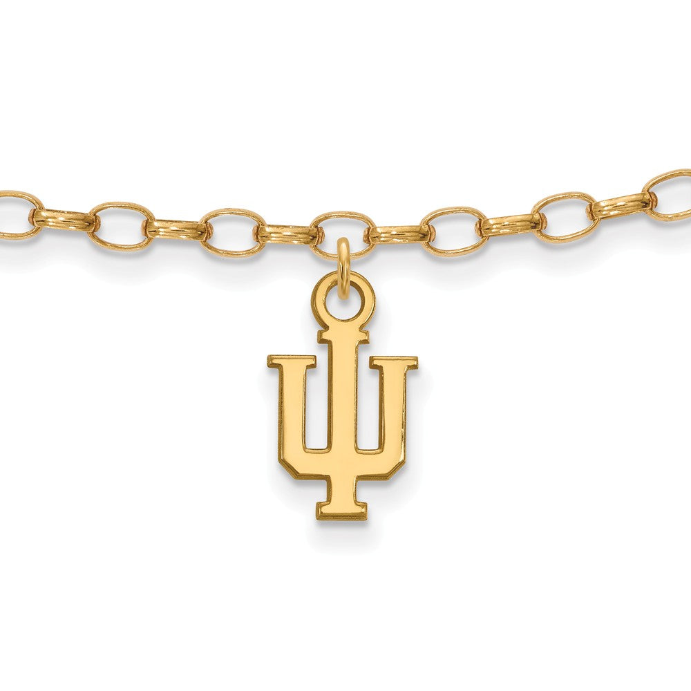 14k Gold Plated Sterling Silver Indiana University Anklet, 9 Inch, Item A8732 by The Black Bow Jewelry Co.