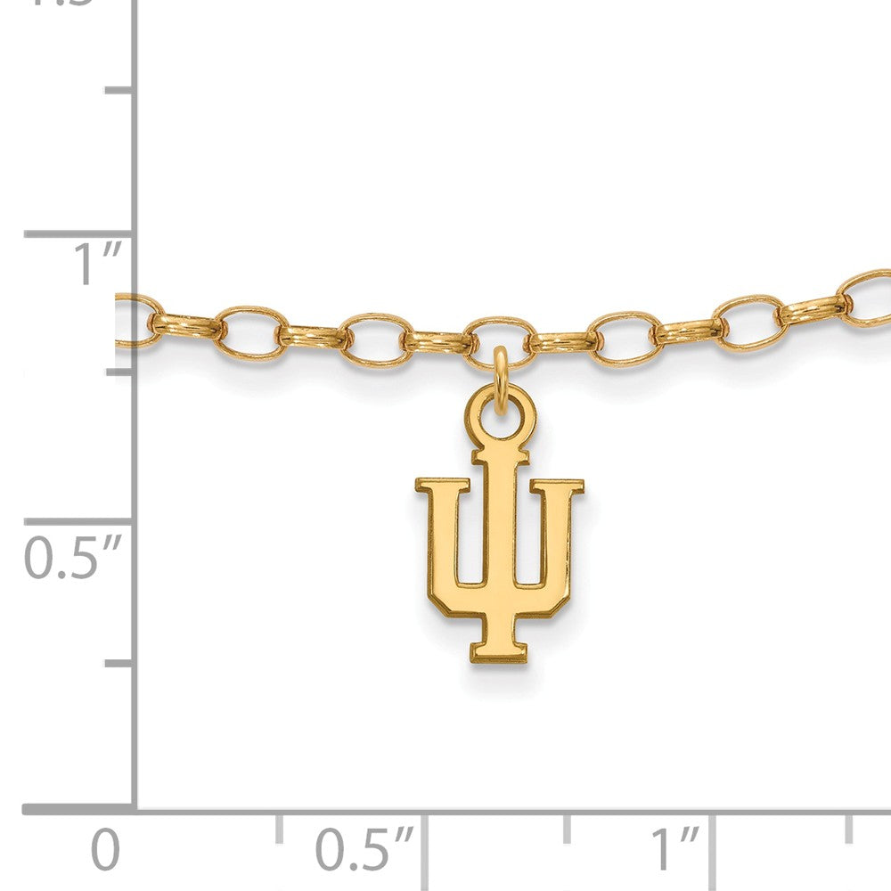 Alternate view of the 14k Gold Plated Sterling Silver Indiana University Anklet, 9 Inch by The Black Bow Jewelry Co.