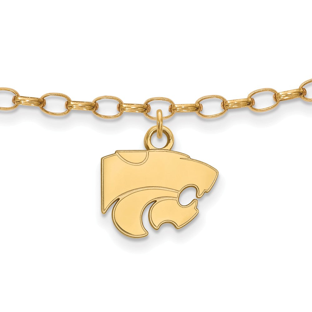 NCAA 14k Gold Plated Sterling Silver Kansas State Univer. Anklet, 9 In, Item A8733 by The Black Bow Jewelry Co.