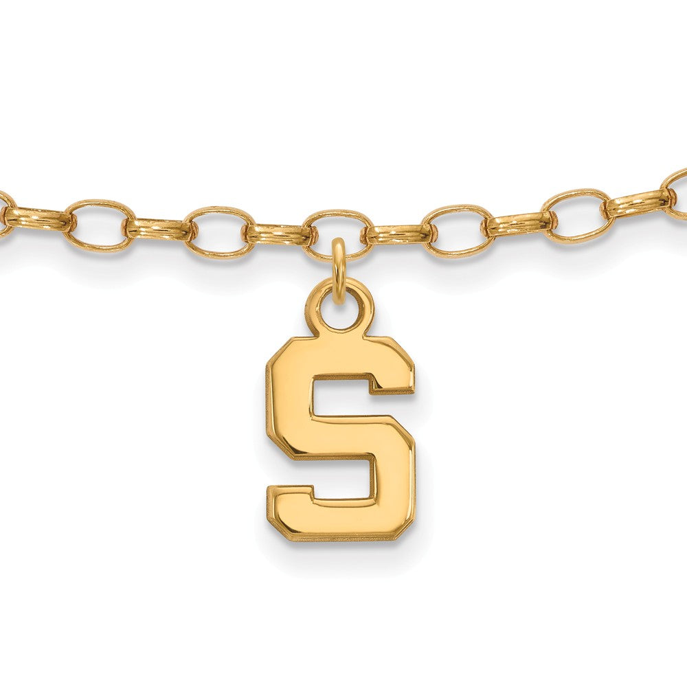 NCAA 14k Gold Plated Silver Michigan State University Anklet, 9 Inch, Item A8734 by The Black Bow Jewelry Co.