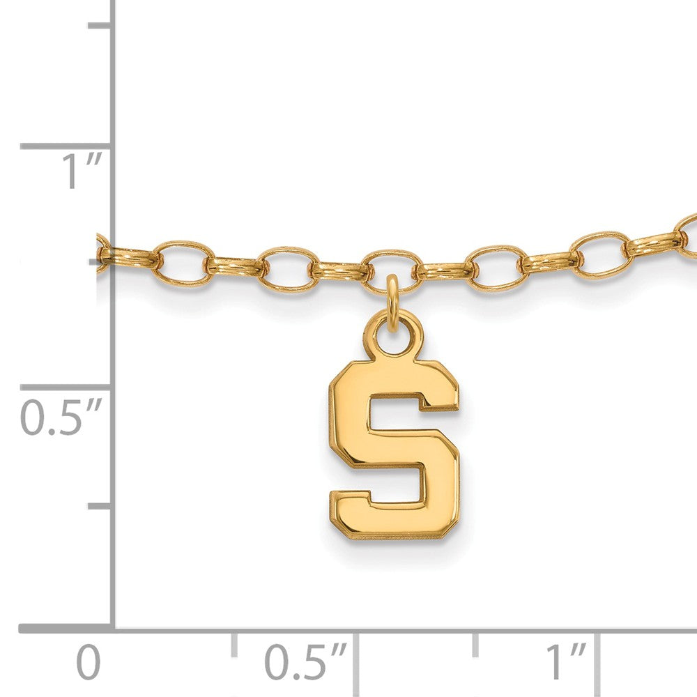 Alternate view of the NCAA 14k Gold Plated Silver Michigan State University Anklet, 9 Inch by The Black Bow Jewelry Co.