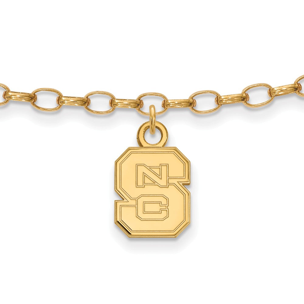NCAA 14k Gold Plated Silver North Carolina State Univ. Anklet, 9 Inch, Item A8736 by The Black Bow Jewelry Co.