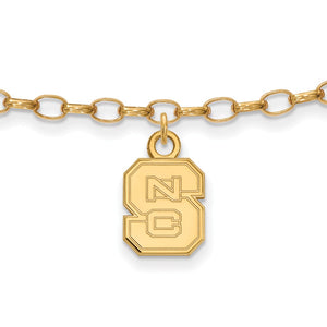 NCAA 14k Gold Plated Silver North Carolina State Univ. Anklet, 9 Inch - The Black Bow Jewelry Co.