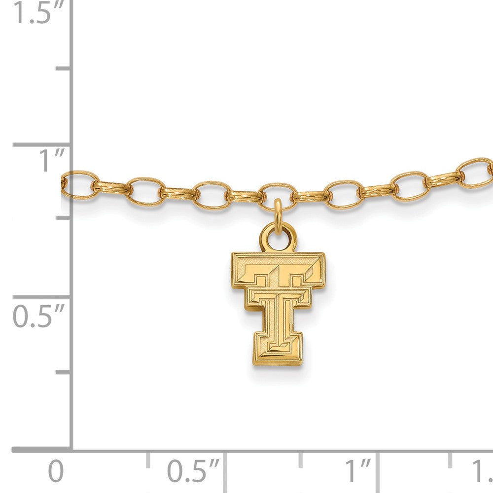 Alternate view of the 14k Gold Plated Sterling Silver Texas Tech Univ. Anklet, 9 Inch by The Black Bow Jewelry Co.