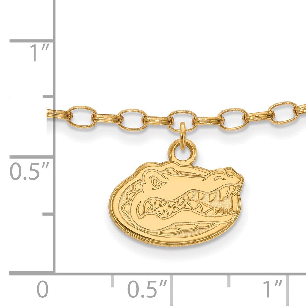 Alternate view of the NCAA 14k Gold Plated Sterling Silver Univ. of Florida Anklet, 9 Inch by The Black Bow Jewelry Co.