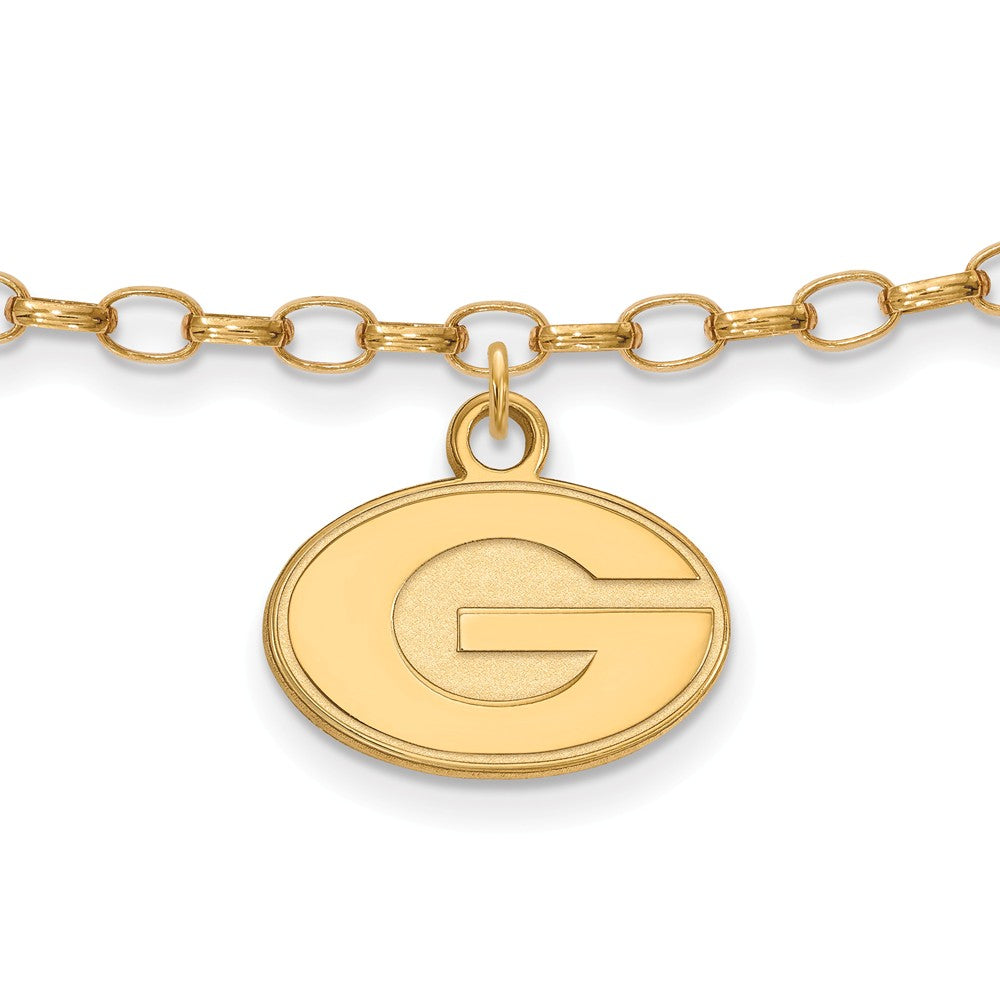 NCAA 14k Gold Plated Sterling Silver Univ. of Georgia Anklet, 9 Inch, Item A8741 by The Black Bow Jewelry Co.