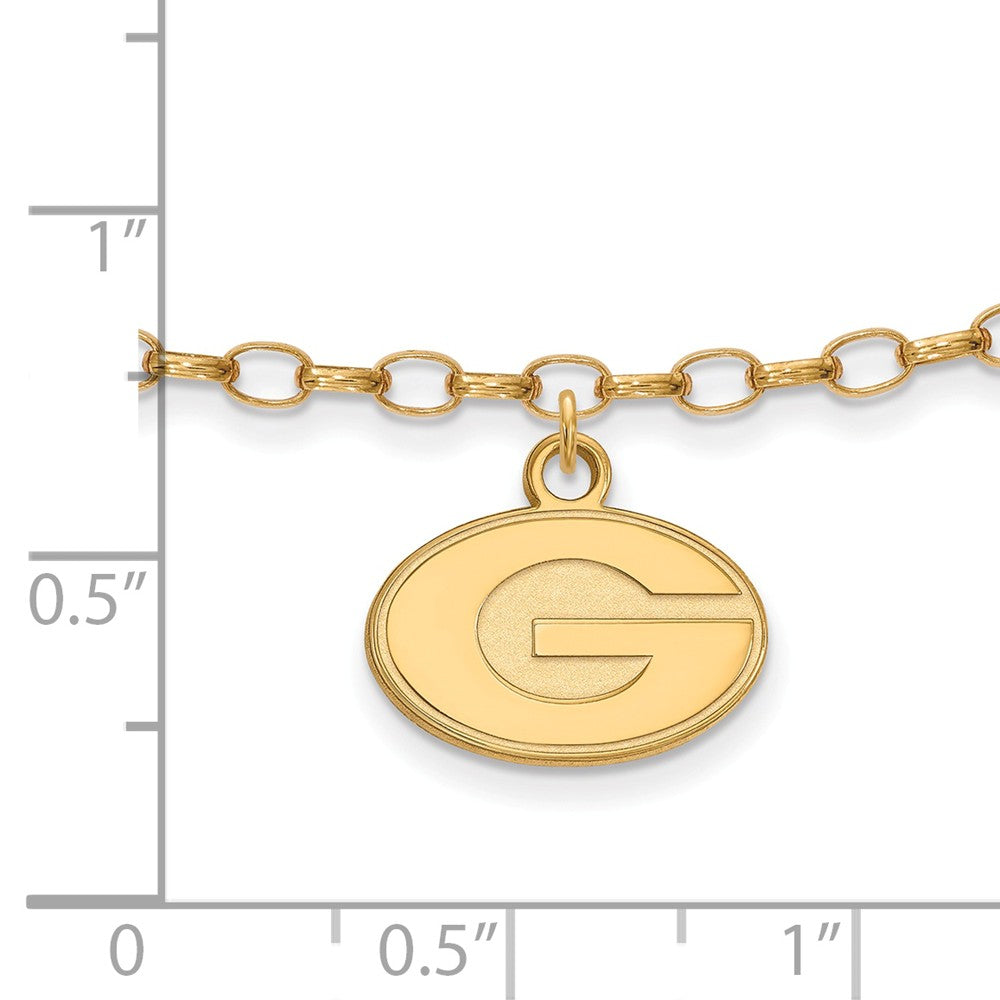 Alternate view of the NCAA 14k Gold Plated Sterling Silver Univ. of Georgia Anklet, 9 Inch by The Black Bow Jewelry Co.