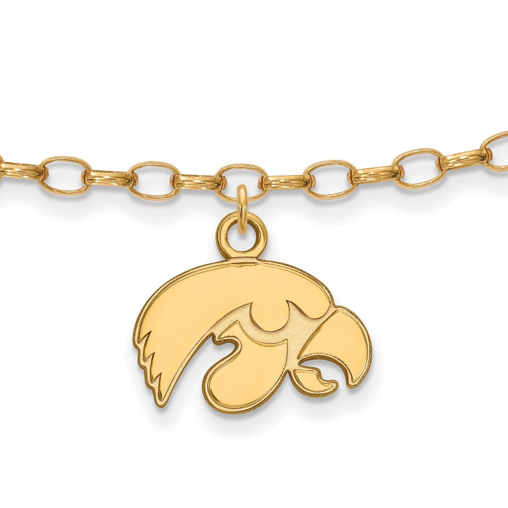 NCAA 14k Gold Plated Sterling Silver University of Iowa Anklet, 9 Inch, Item A8742 by The Black Bow Jewelry Co.