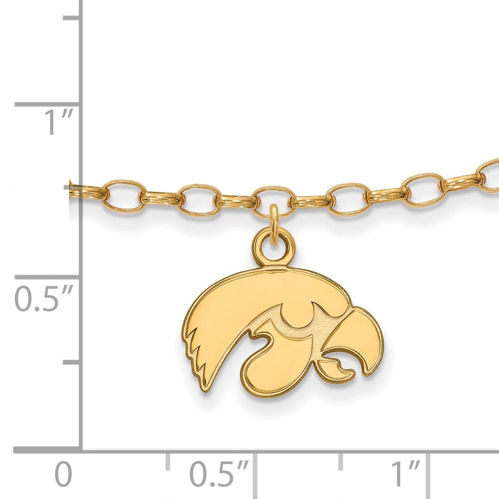 Alternate view of the NCAA 14k Gold Plated Sterling Silver University of Iowa Anklet, 9 Inch by The Black Bow Jewelry Co.