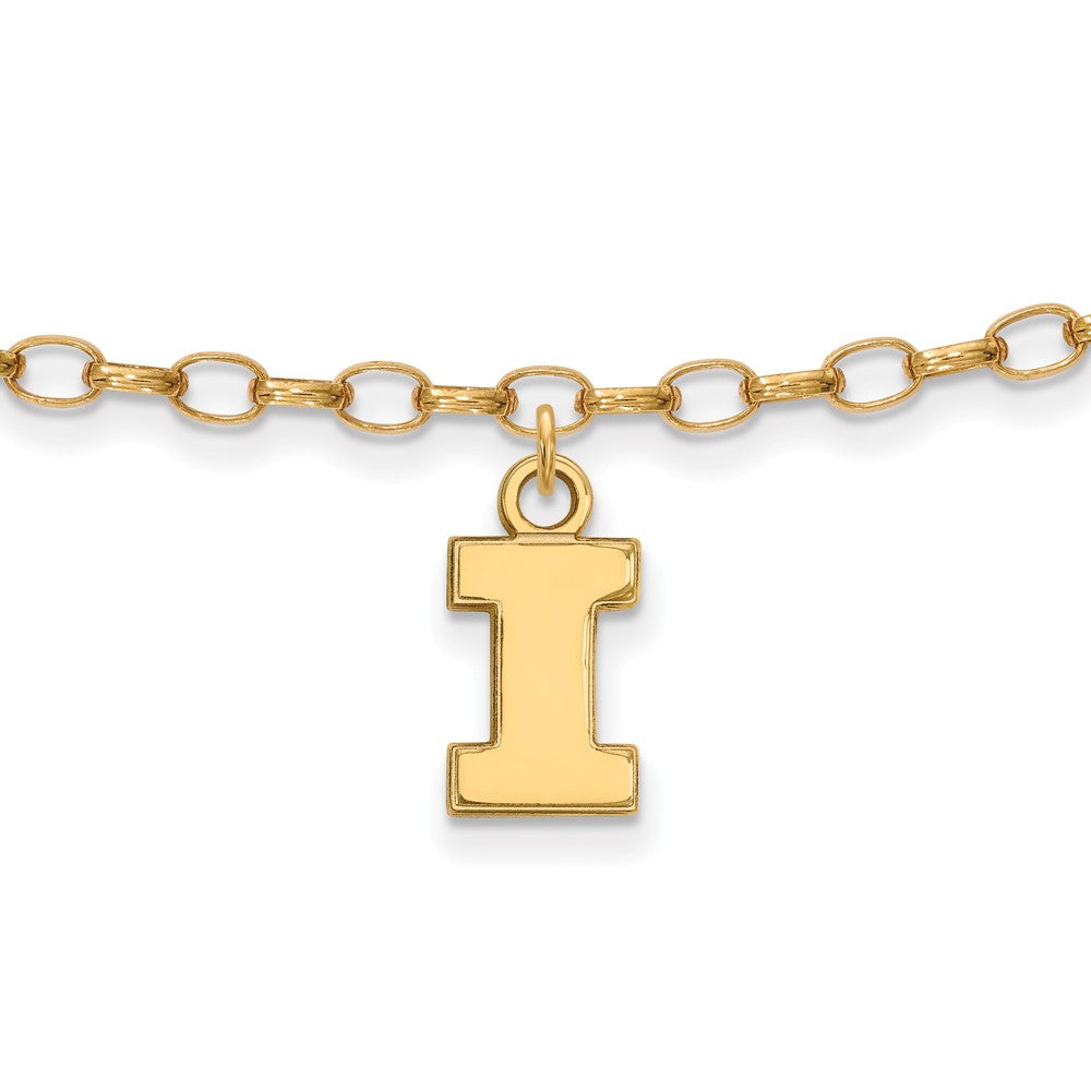 NCAA 14k Gold Plated Silver University of Illinois Anklet, 9 Inch, Item A8743 by The Black Bow Jewelry Co.