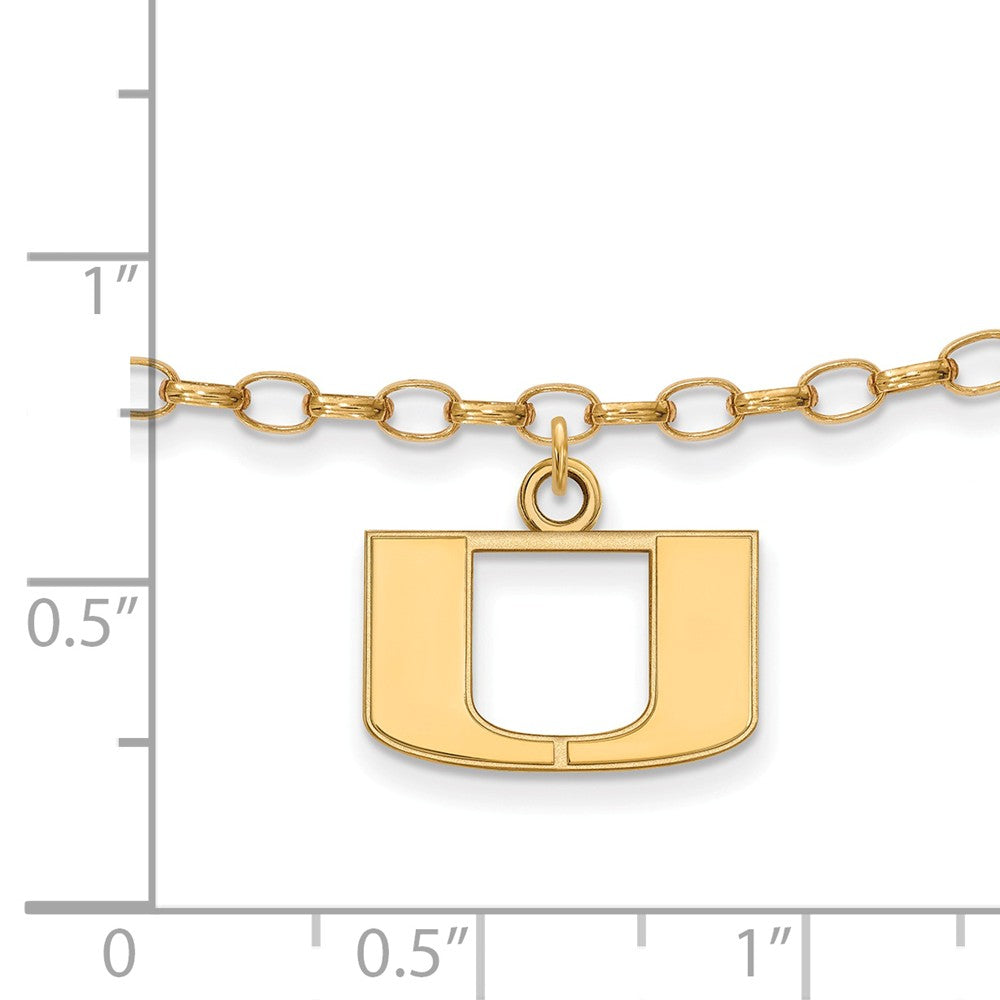 Alternate view of the NCAA 14k Gold Plated Silver University of Miami Anklet, 9 Inch by The Black Bow Jewelry Co.
