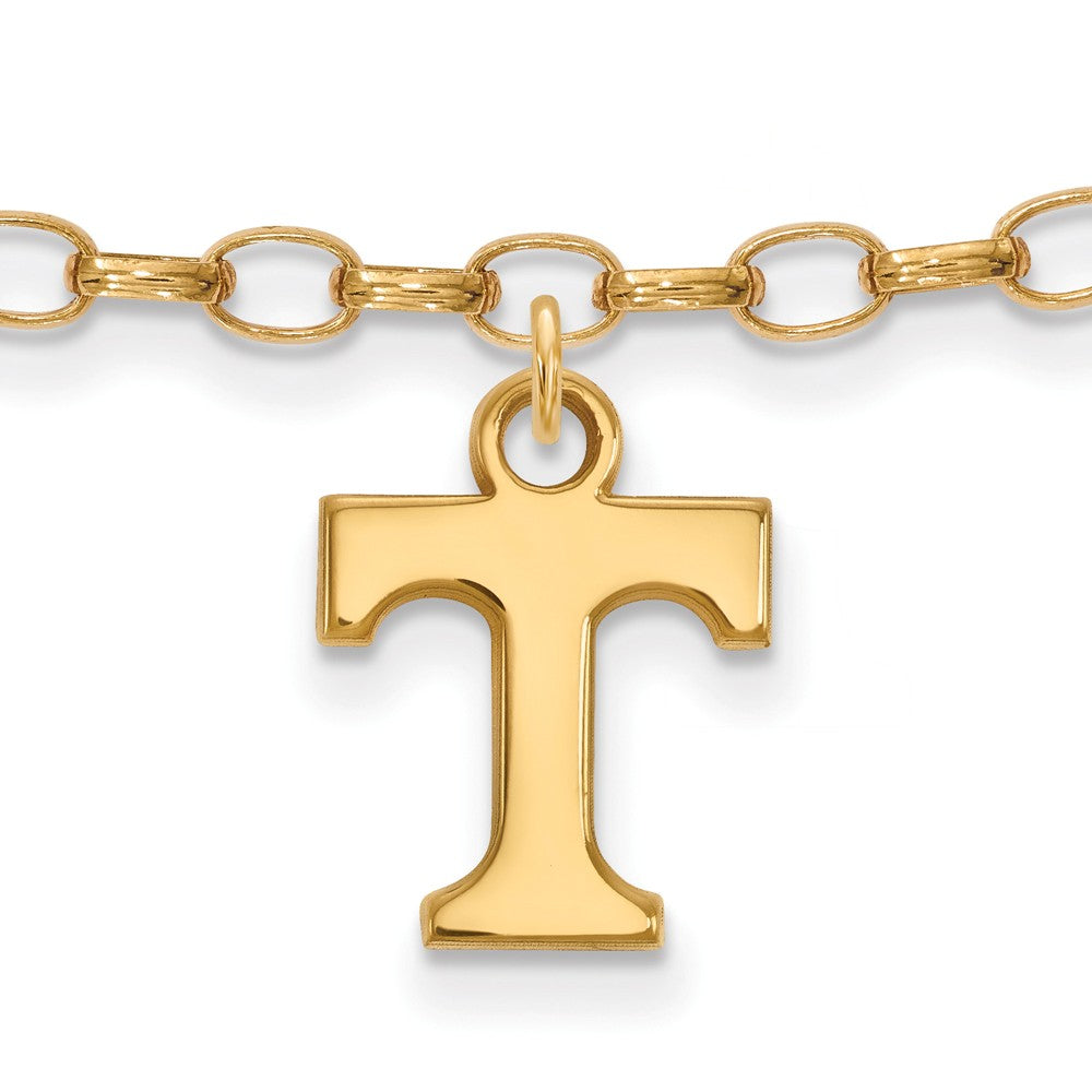14k Gold Plated Silver University of Tennessee Anklet, 9 Inch, Item A8748 by The Black Bow Jewelry Co.