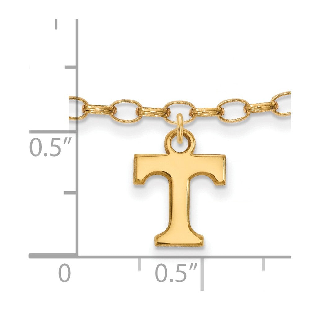 Alternate view of the 14k Gold Plated Silver University of Tennessee Anklet, 9 Inch by The Black Bow Jewelry Co.
