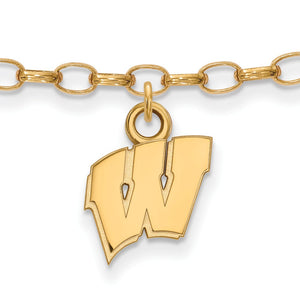 NCAA 14k Gold Plated Silver University of Wisconsin Anklet, 9 Inch - The Black Bow Jewelry Co.
