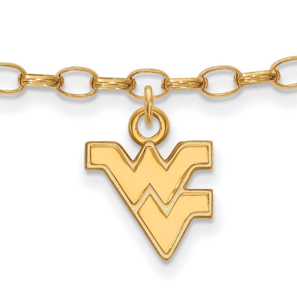 NCAA 14k Gold Plated Silver West Virginia University Anklet, 9 Inch, Item A8751 by The Black Bow Jewelry Co.