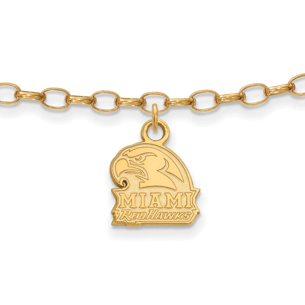NCAA 14k Gold Plated Silver Miami University Anklet, 9 Inch, Item A8752 by The Black Bow Jewelry Co.