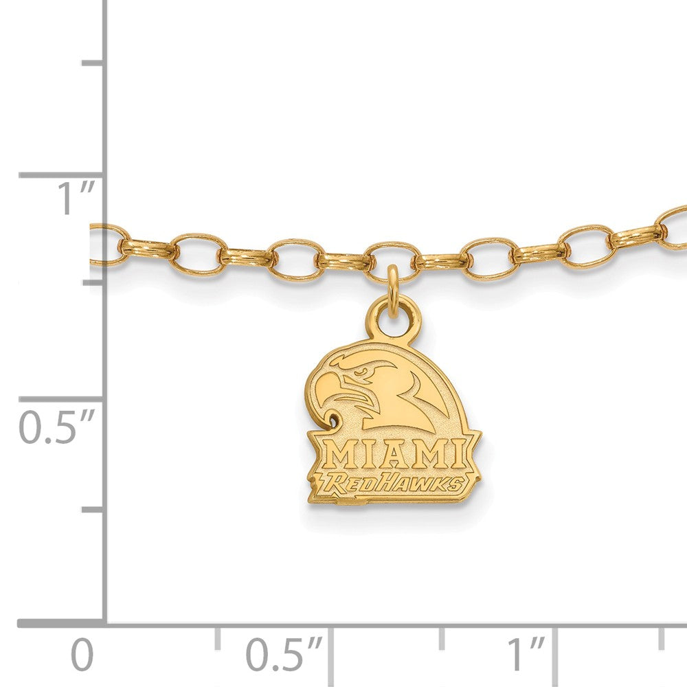 Alternate view of the NCAA 14k Gold Plated Silver Miami University Anklet, 9 Inch by The Black Bow Jewelry Co.